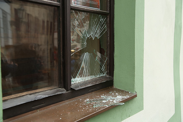 A2B Glass are able to board up broken windows while they are being repaired in Ealing Brent.